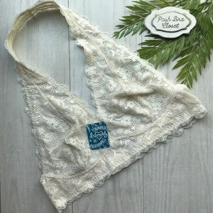 FREE PEOPLE Lace Halter Bralette NWT IVORY LARGE
